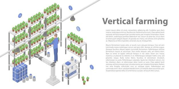 Banner de concepto de agricultura vertical, estilo isométrico