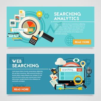 Banner de concepto de análisis de búsqueda. composición cuadrada