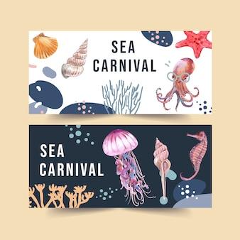 Banner con concepto de animales marinos, acuarela con plantilla de ilustración de elementos.