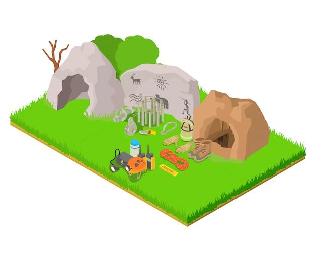 Banner de concepto de arqueología, estilo isométrico