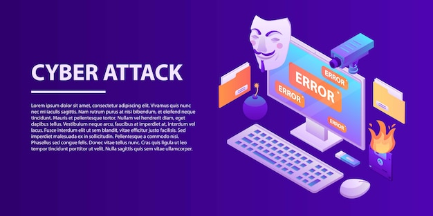 Banner de concepto de ataque cibernético, estilo isométrico