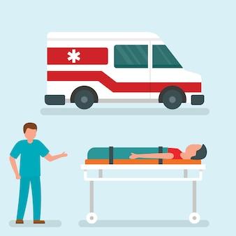Banner de concepto de ayuda de coche de ambulancia