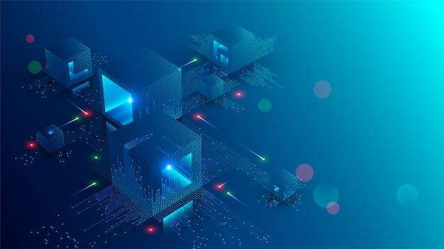 Banner de concepto de blockchain