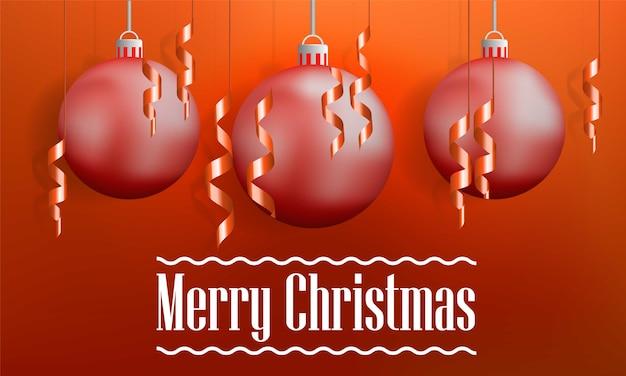 Banner de concepto de bolas de árbol de navidad feliz, estilo realista