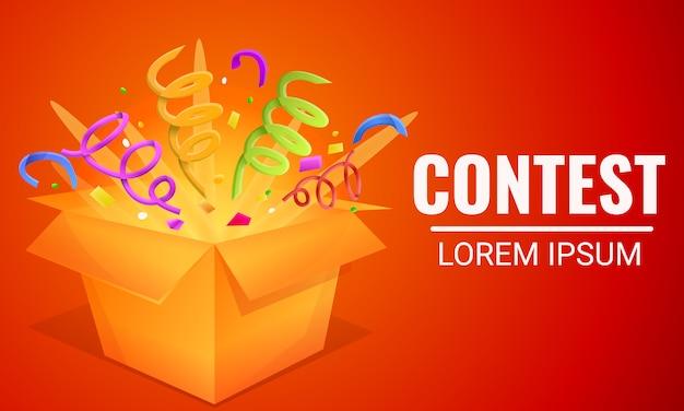 Banner de concepto de caja de regalo de concurso, estilo de dibujos animados