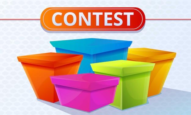 Banner de concepto de cajas coloridas de concurso, estilo de dibujos animados