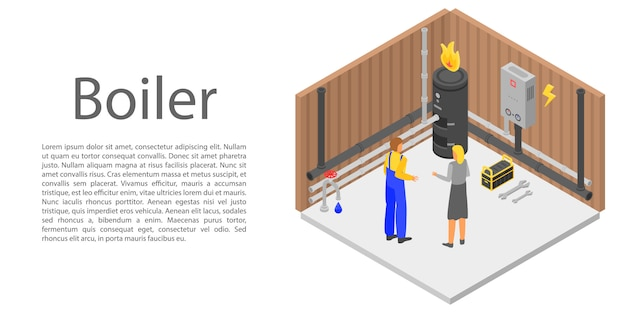 Banner de concepto de caldera, estilo isométrico