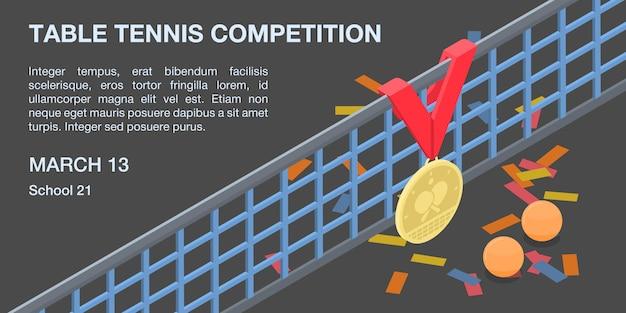 Banner de concepto de competición de tenis de mesa, estilo isométrico