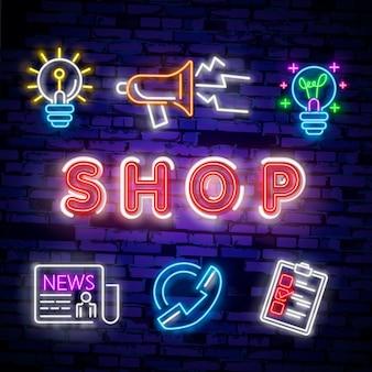 Banner de concepto cyber monday en estilo neón de moda