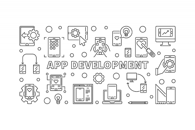 Banner de concepto de desarrollo de aplicaciones en estilo de línea fina