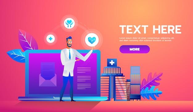 Banner de concepto de diagnóstico en línea con personajes.
