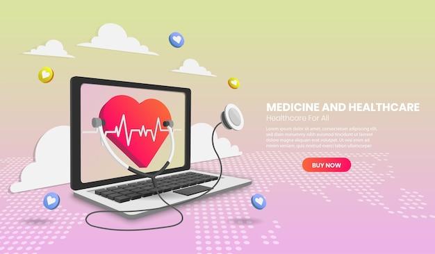 Banner de concepto de diagnóstico de salud en línea