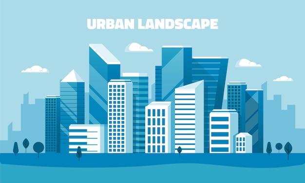 Banner de concepto de diseño plano - paisaje urbano