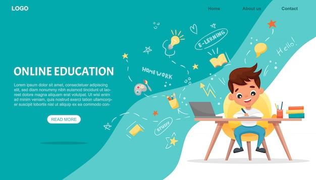 Banner de concepto de e-learning. educación en línea. lindo colegial usando laptop. estudia en casa con elementos dibujados a mano. cursos o tutoriales web, software para el aprendizaje. ilustración de dibujos animados plana