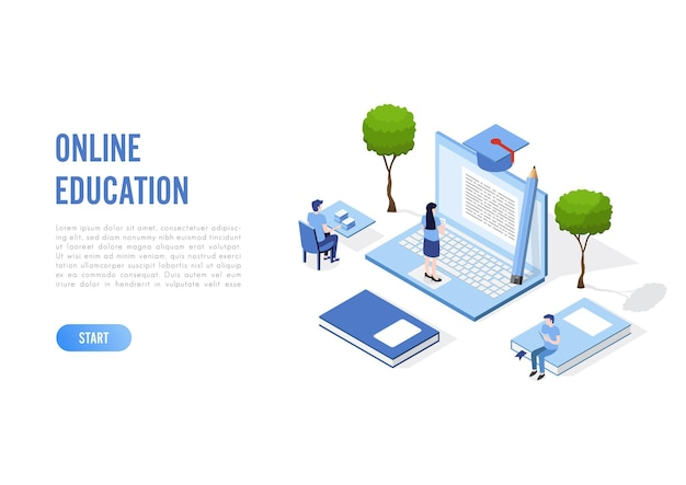 Banner de concepto de educación en línea con personajes.