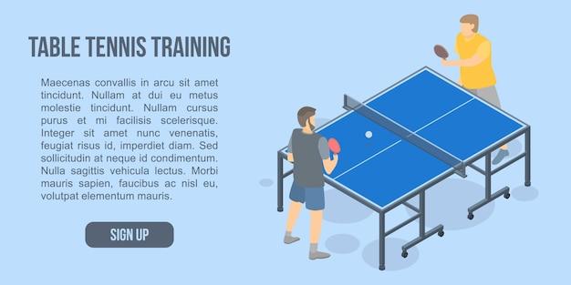 Banner de concepto de entrenamiento de tenis de mesa, estilo isométrico