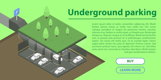 Banner de concepto de estacionamiento subterráneo, estilo isométrico