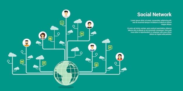 Banner de concepto de estilo, red social, comunicación por internet
