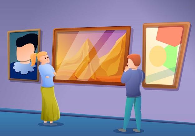 Banner de concepto de excursión de galería de imágenes, estilo de dibujos animados