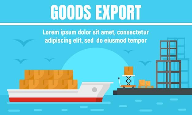 Banner de concepto de exportación de bienes portuarios