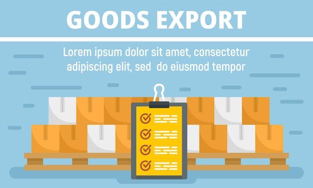 Banner de concepto de exportación de mercancías