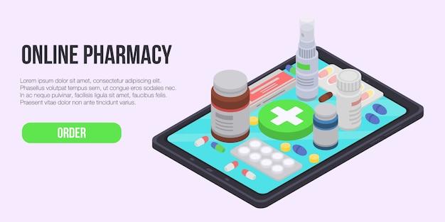 Banner de concepto de farmacia en línea, estilo isométrico