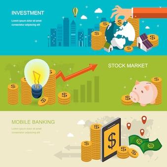 Banner de concepto financiero en diseño plano isométrico 3d