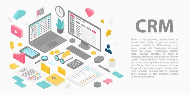 Banner de concepto de gestión de relación con el cliente, estilo isométrico