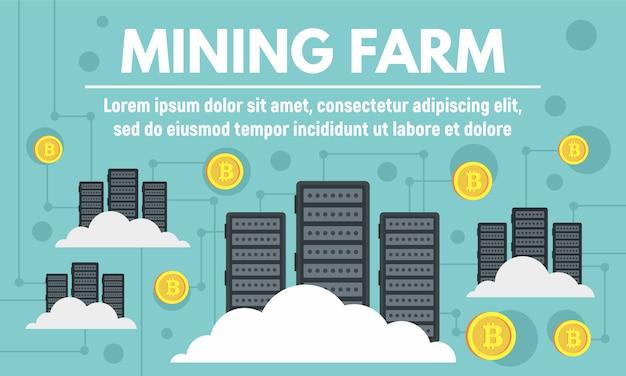 Banner de concepto de granja minera moderna, estilo plano