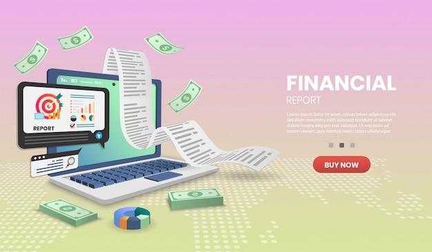 Banner de concepto de informe financiero