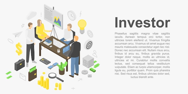 Banner de concepto de inversor, estilo isométrico