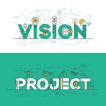Banner de concepto de línea de diseño plano: visión y proyecto