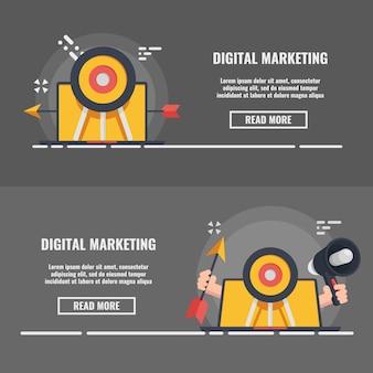 Banner de concepto de marketing y publicidad digital, concepto de pr de los medios