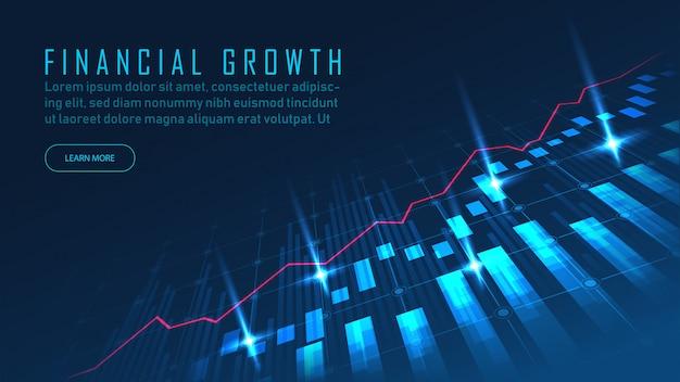 Banner de concepto de mercado de valores o gráfico comercial