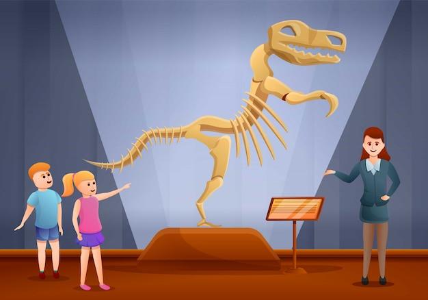 Banner de concepto de museo de excursión de dinosaurios, estilo de dibujos animados