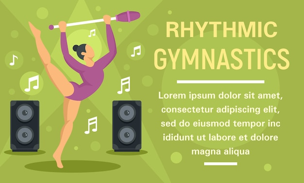 Banner de concepto de música de baile de gimnasia rítmica