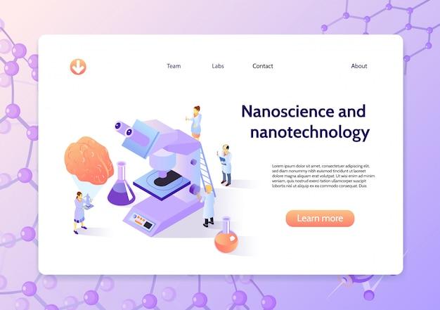 Banner de concepto de nanotecnología isométrica horizontal con título de nanociencia y nanotecnología y botón de aprender más