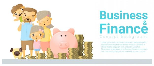 Banner de concepto de negocios y finanzas con familia ahorrando dinero
