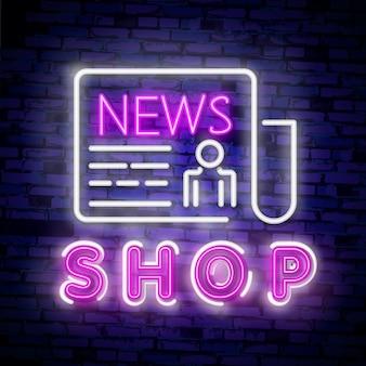 Banner de concepto de noticias en estilo neón de moda, letrero luminoso