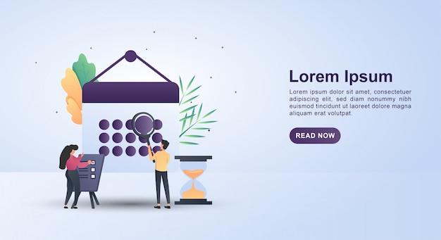 Banner, concepto de personas que hacen horarios anuales.
