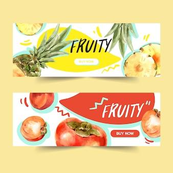 Banner con concepto de piña y ciruela, plantilla de ilustración colorida