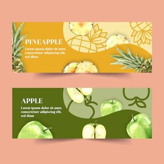Banner con el concepto de piña y manzana, ilustración colorida creativa.