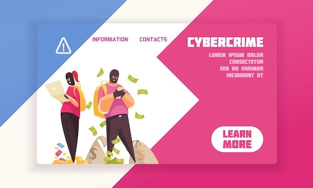 Banner de concepto de pirata informático horizontal y plano con título de delito cibernético y aprender más ilustración de vector de botón