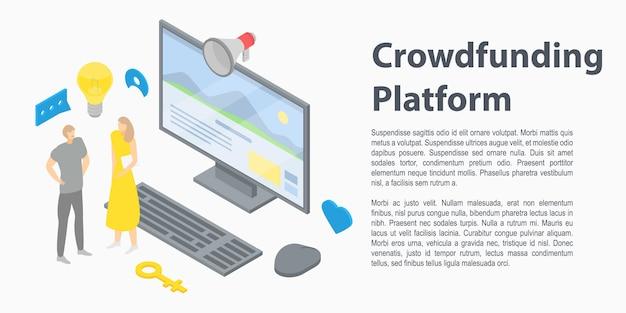 Banner de concepto de plataforma de crowdfunding, estilo isométrico