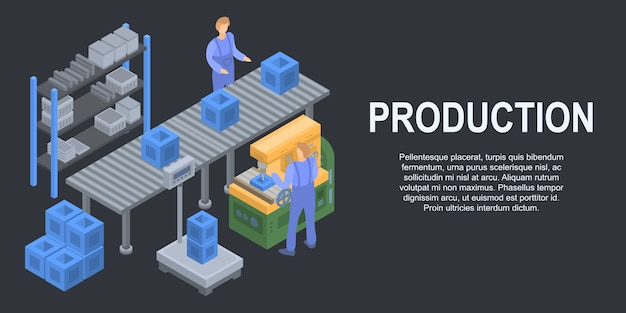 Banner de concepto de producción de línea de caja, estilo isométrico