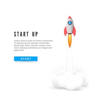 Banner de concepto de puesta en marcha. desarrollo de ideas empresariales creativas. lanzamiento del cohete.