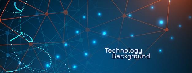 Banner de concepto de puntos de tecnología abstracta