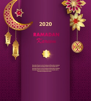 Banner de concepto de ramadán kareem con patrones geométricos islámicos.