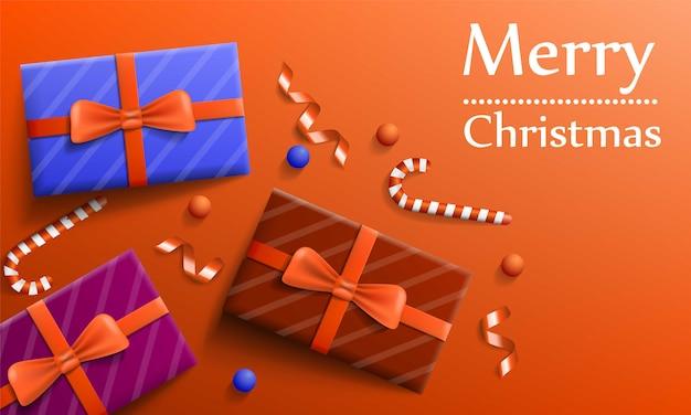 Banner de concepto de regalo de feliz navidad, estilo realista