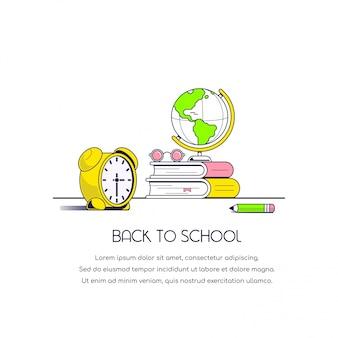 Banner de concepto de regreso a la escuela. ilustración de estilo plano.